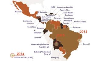 Mapa reciente de la OMS sobre la expansión del Zika en América.